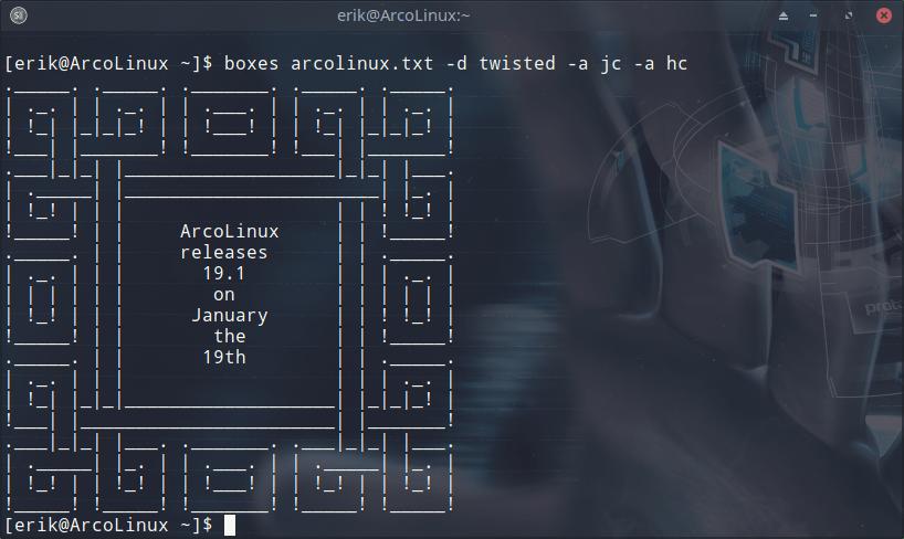 ArcoLinux -D -B 19 1 | ArcoLinux info
